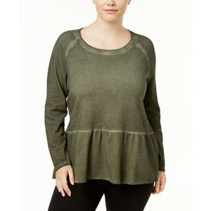 Style & Co Sweaters - Style&Co Olive Green High-Low Hem Ruffled Sweater
